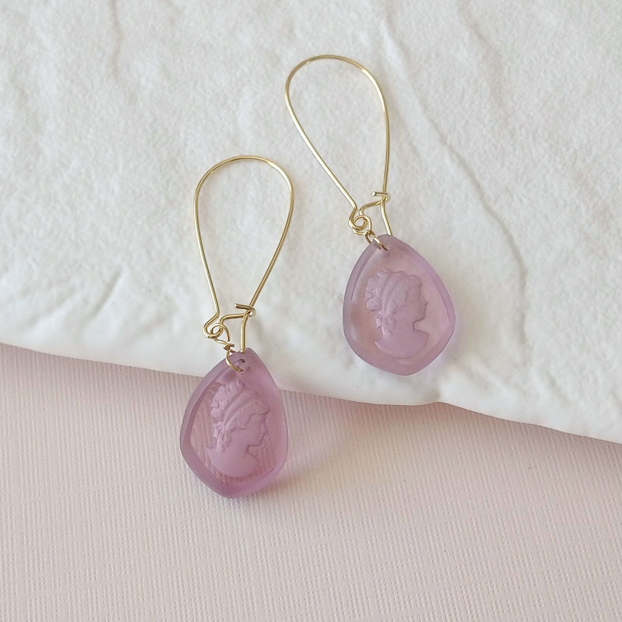 intaglio cameo earrings plum