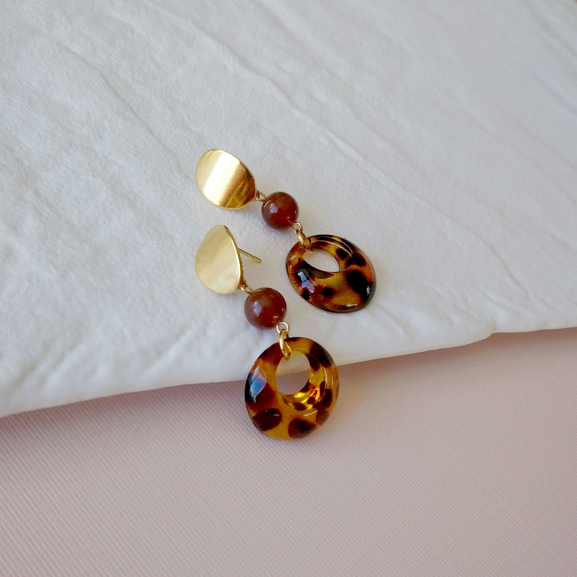 tortoiseshell earrings hypoallergenic amber brown