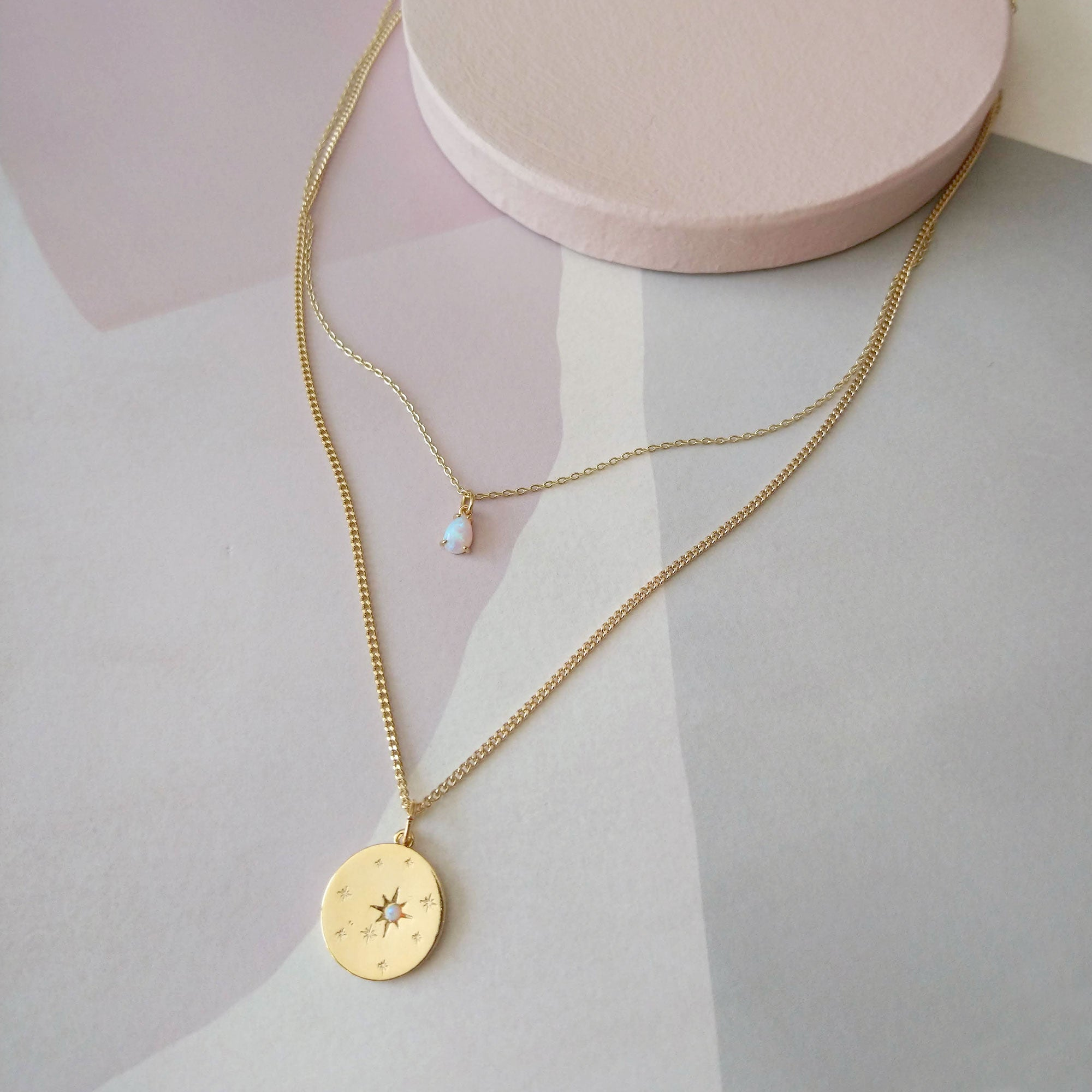 Opal Coin and Drop duo necklaces (SD1580) (Back in stock!)