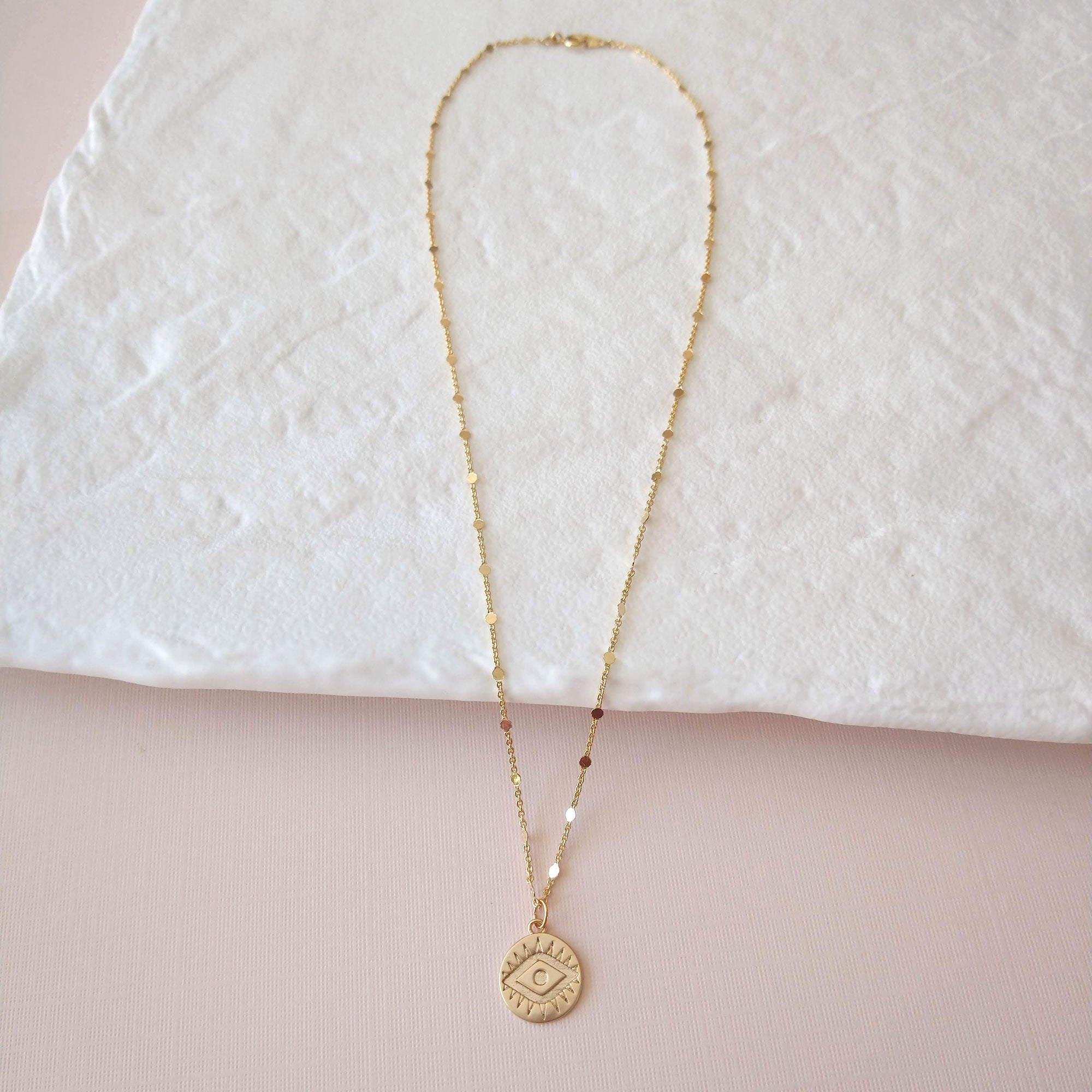 Evil eye charm necklace gold plated