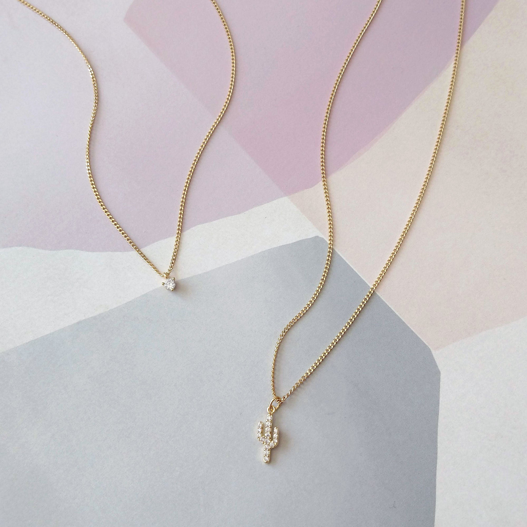 Cactus Duo Necklaces with Crystal Drop (SD1588)
