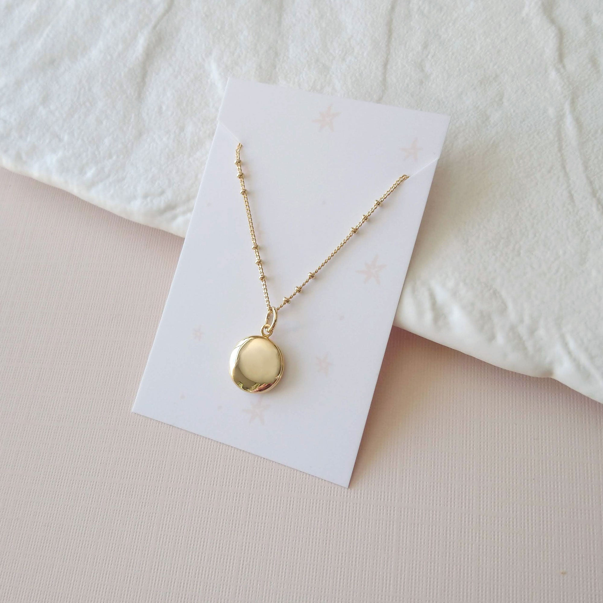 Tiny Round locket pendant chain