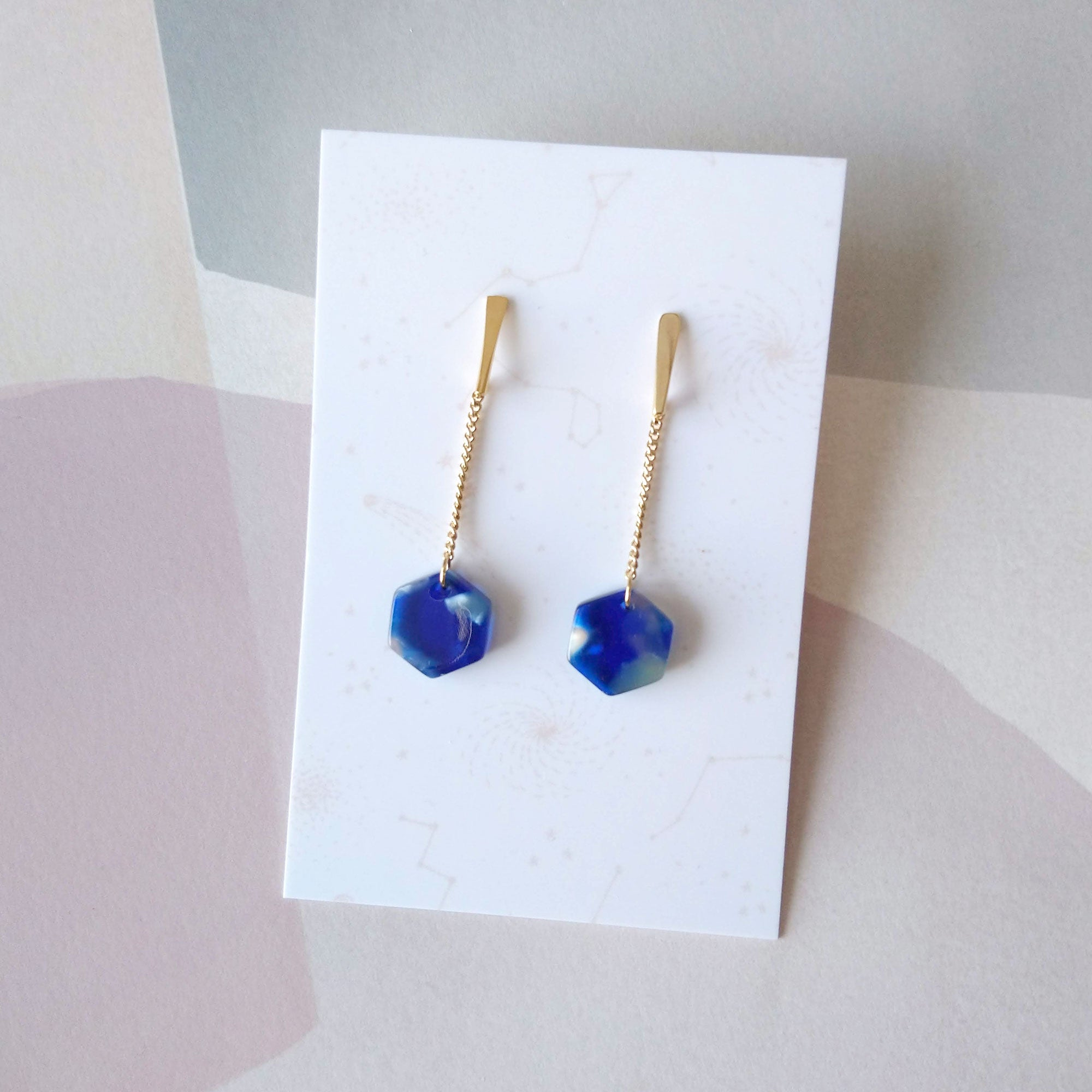 blue acetate earrings