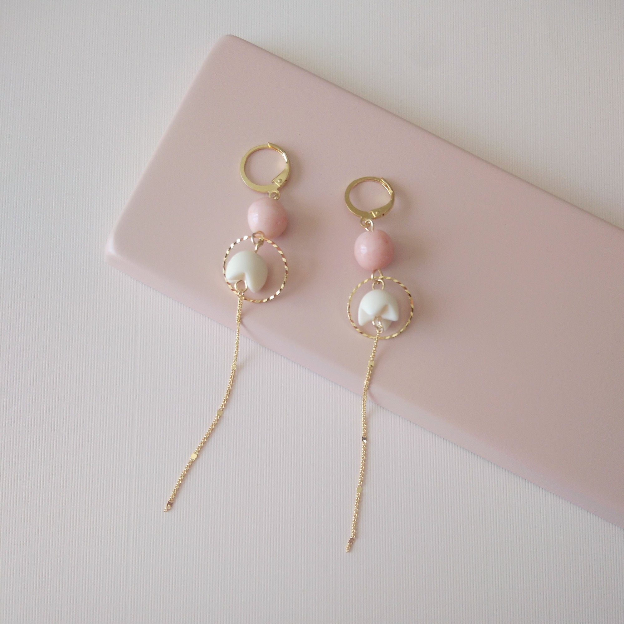 long earrings pastel gold