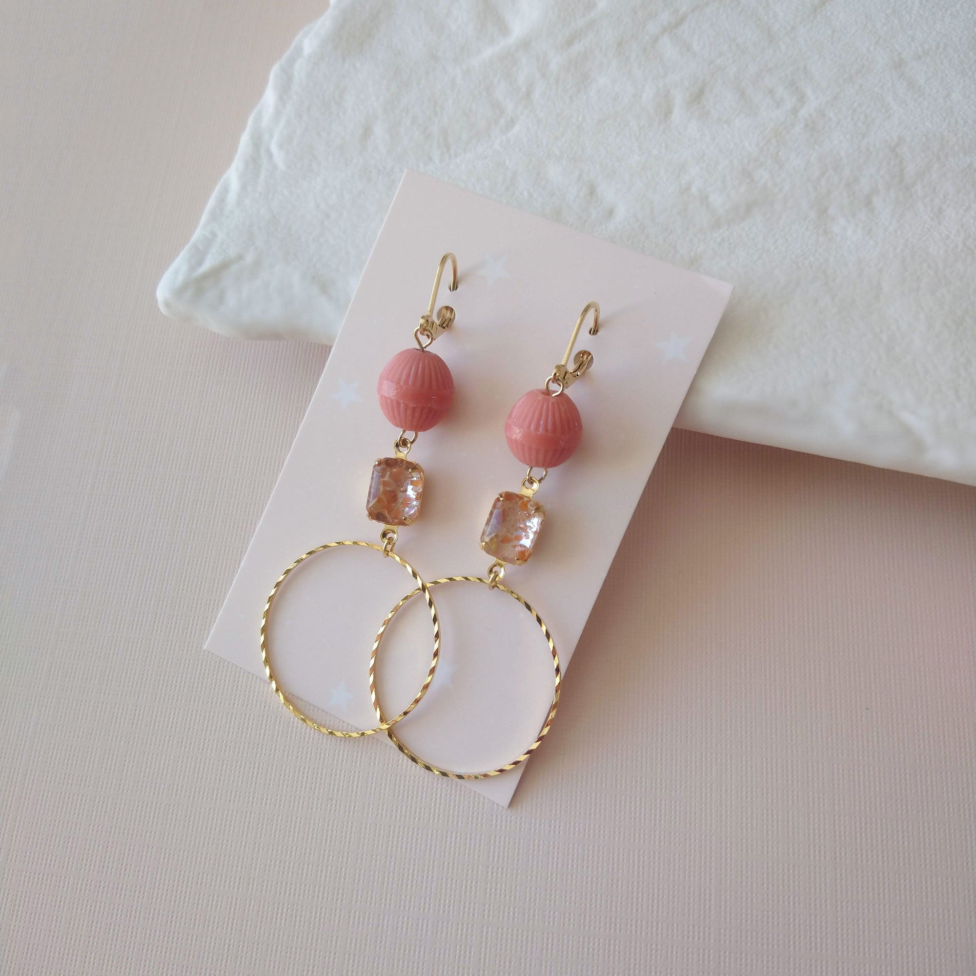 hoops earrings with vintage beads