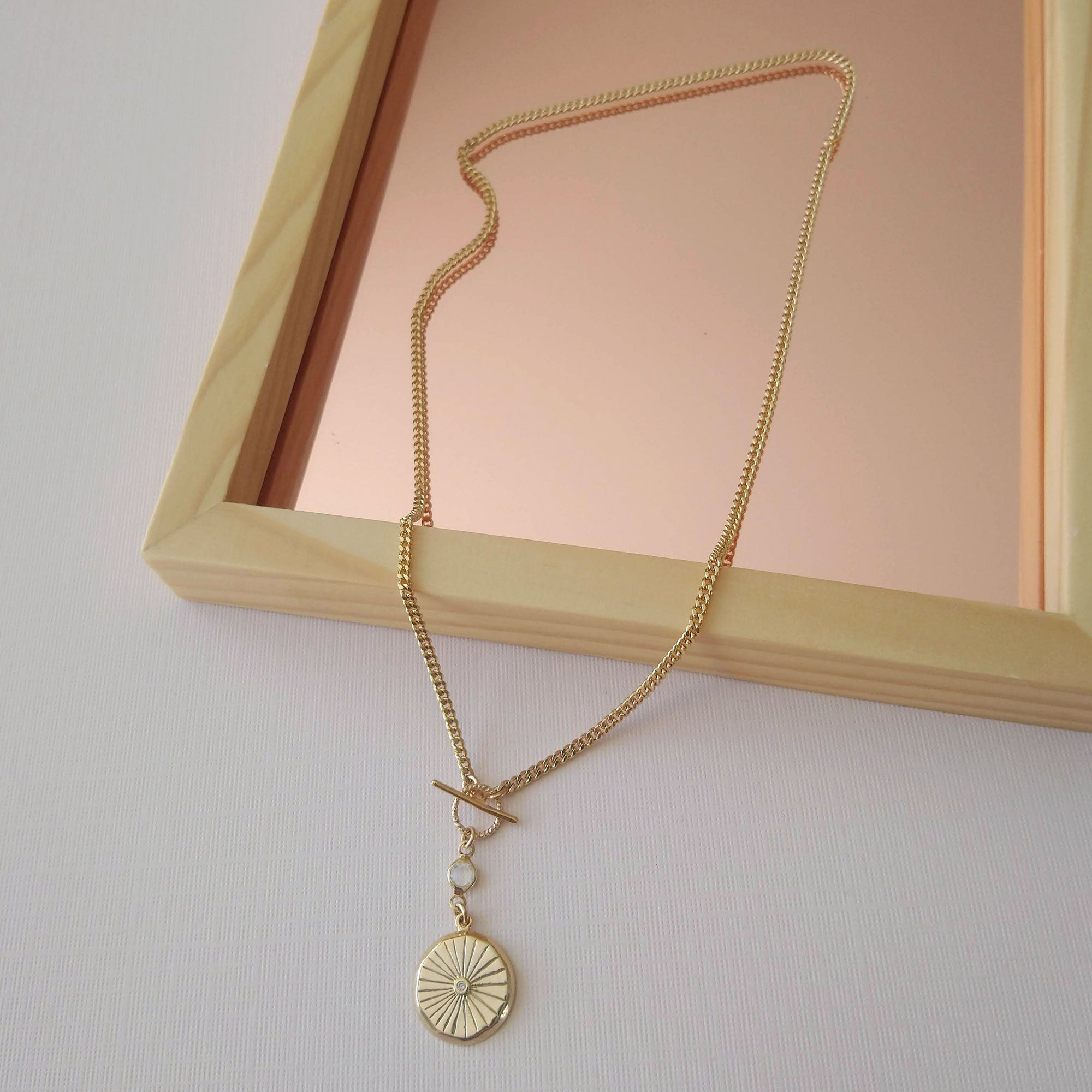 gold coin necklace with glass connector