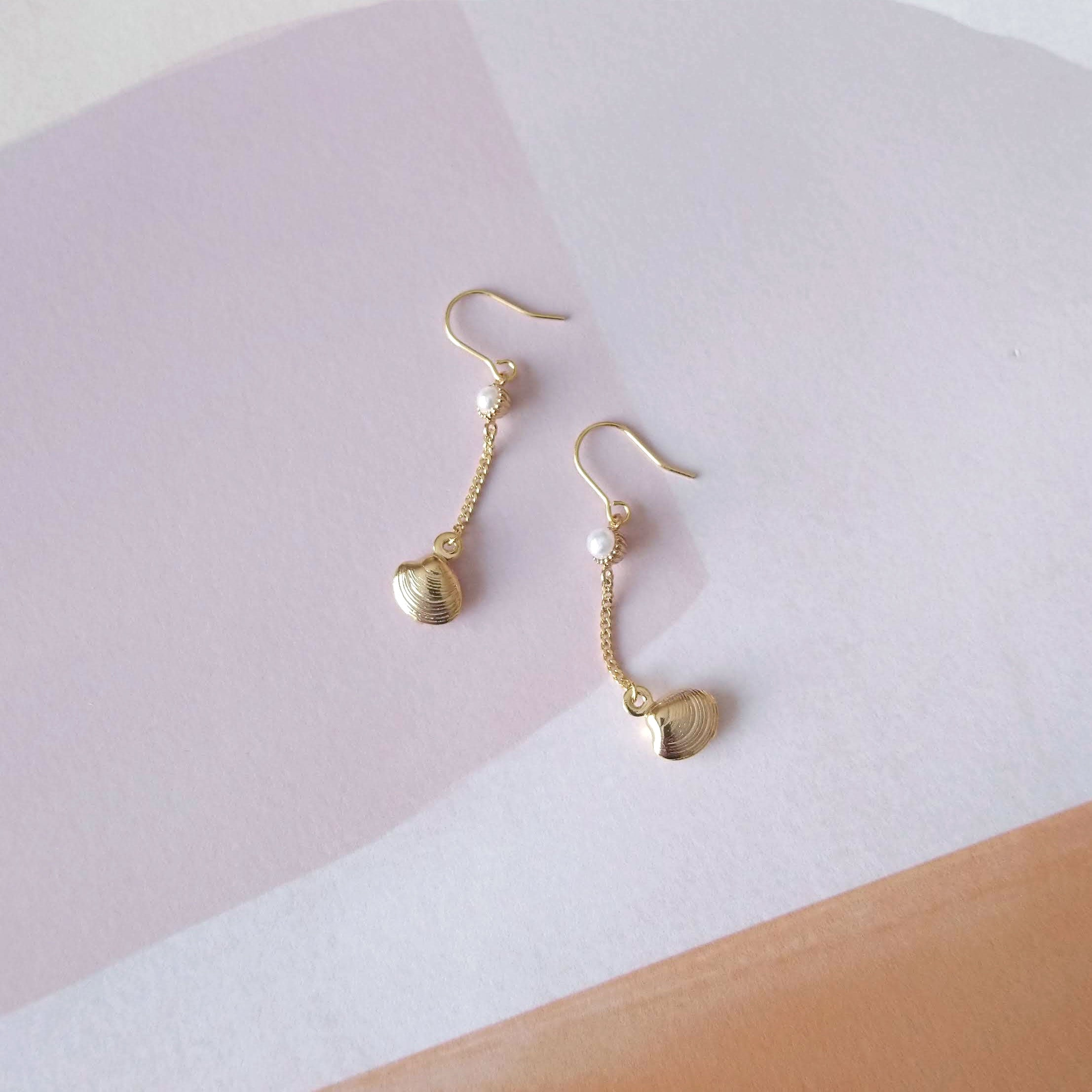 boucles d'oreilles perle coquillage