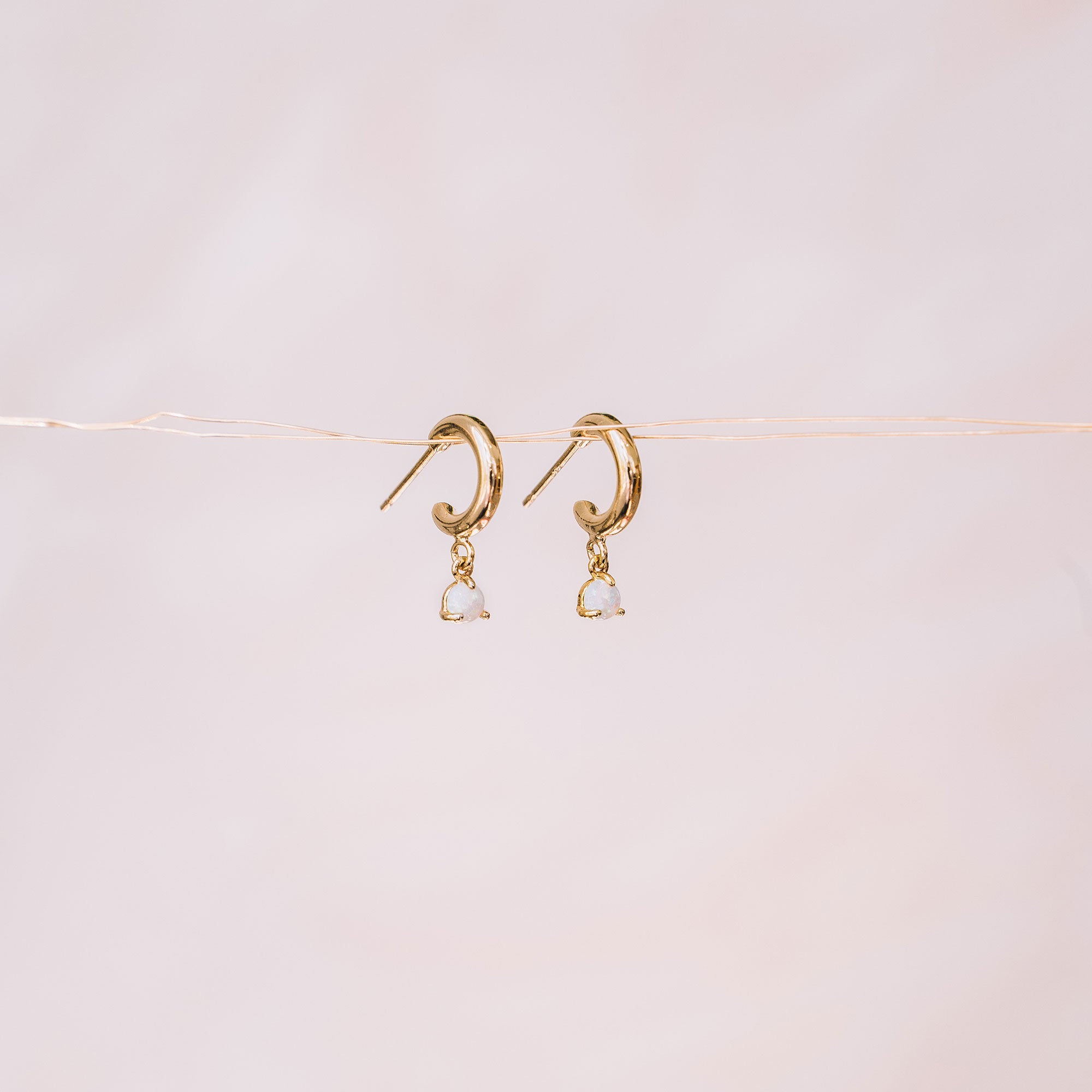 simple hoop earrings with opal drops bijoux québécois