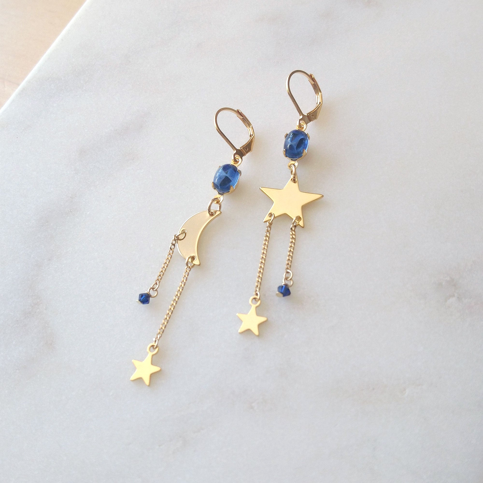 asymmetrical earrings mix and match stars moon
