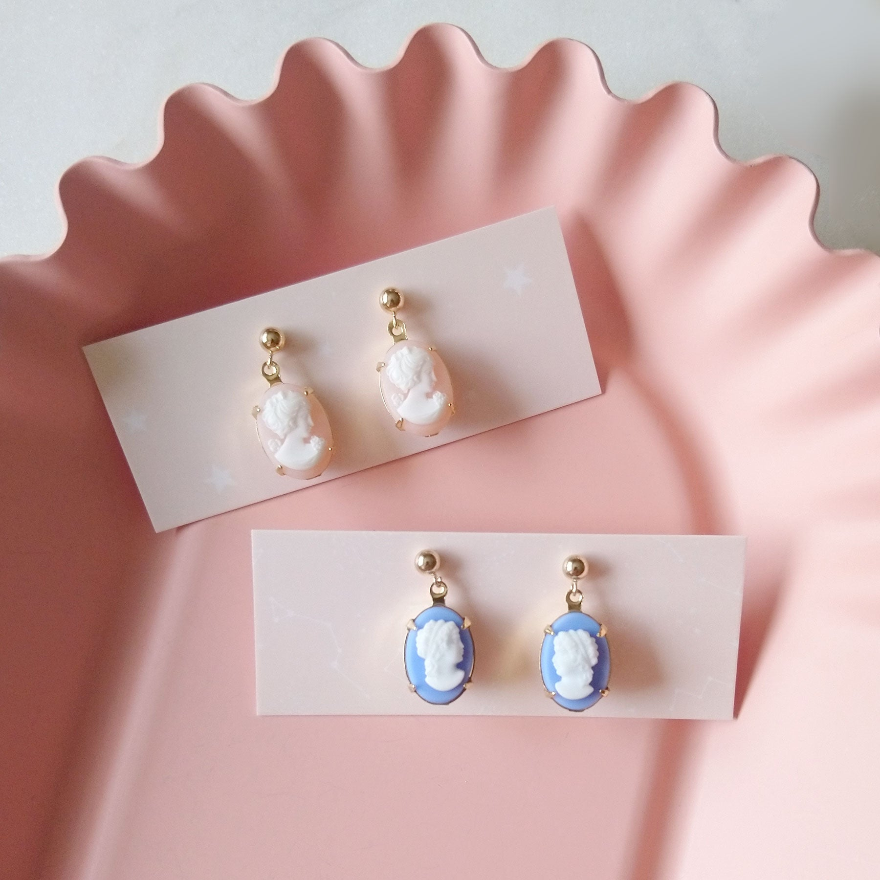 Cameo Drops Ear Posts in 14K gold filled (SD1679)