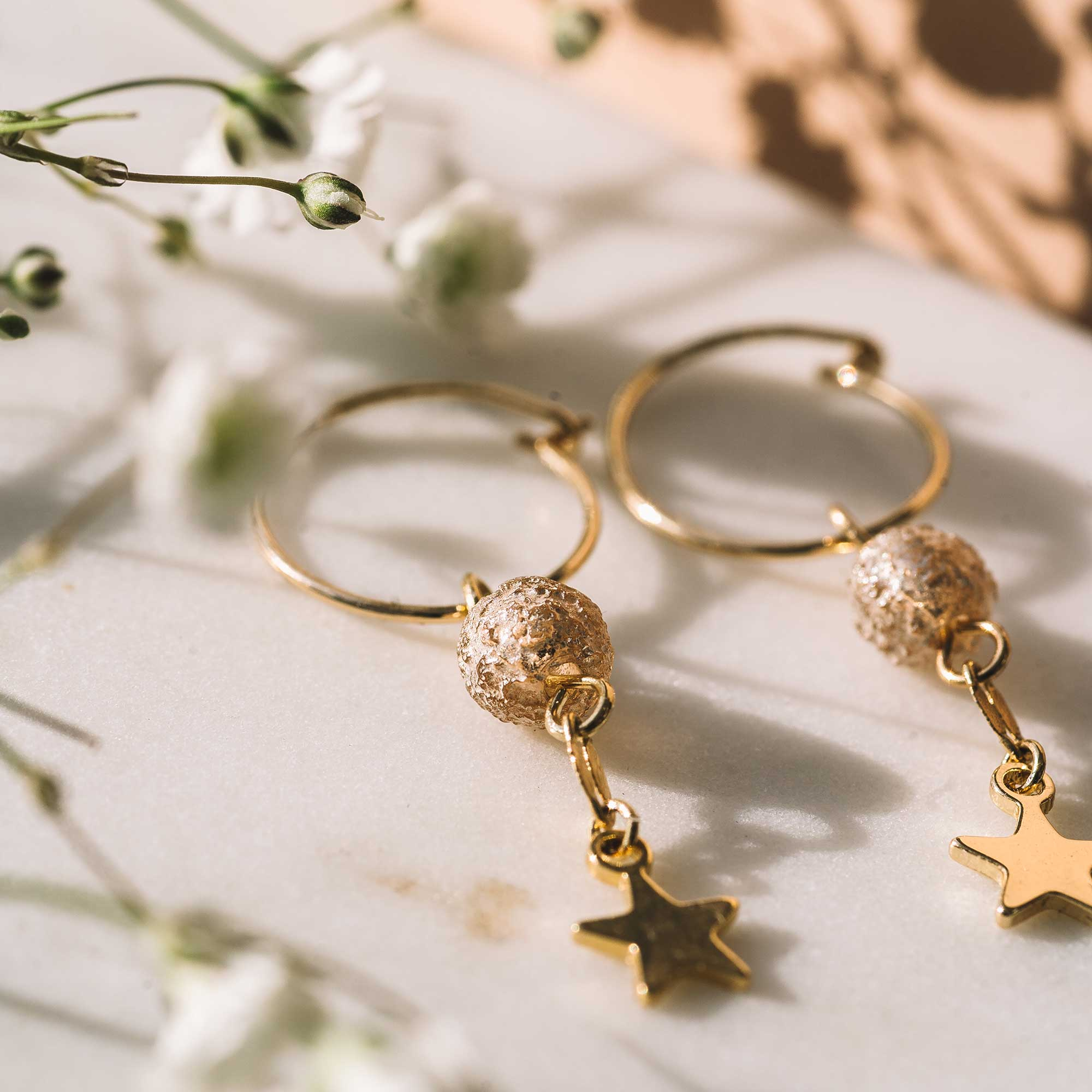 gold filled hoops earrings bijoux sandrine devost stars