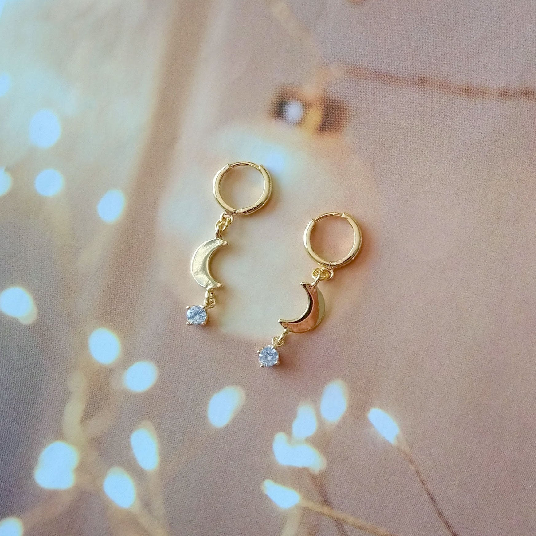 moon and crystal earrings small hoops