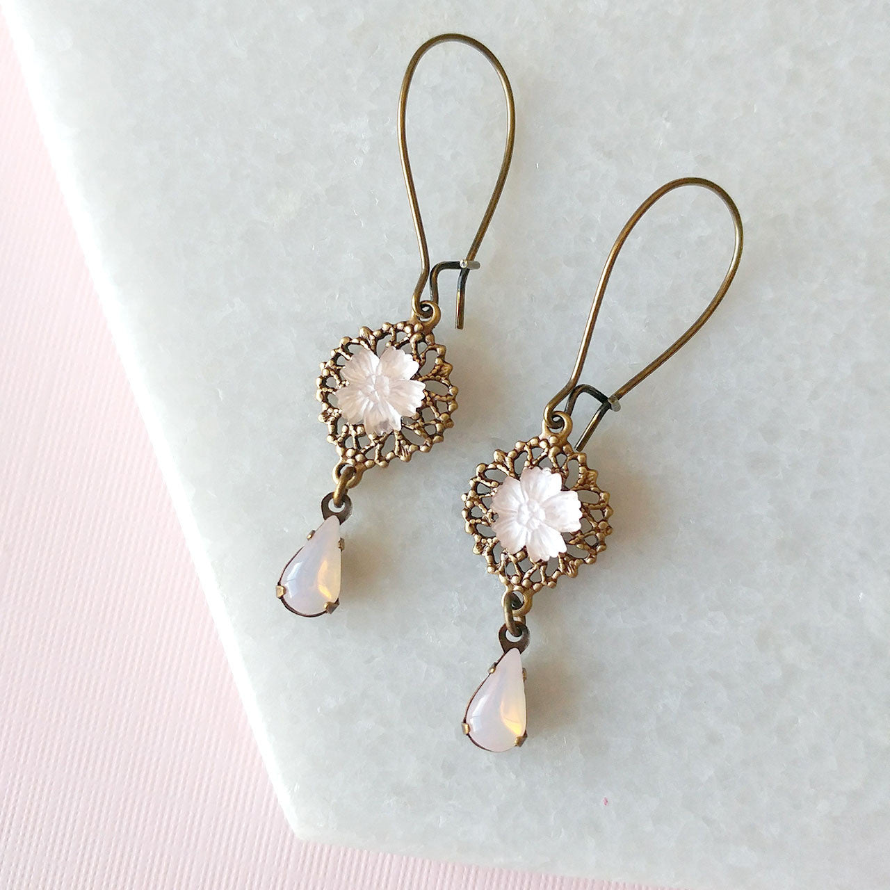 Opal pink earrings