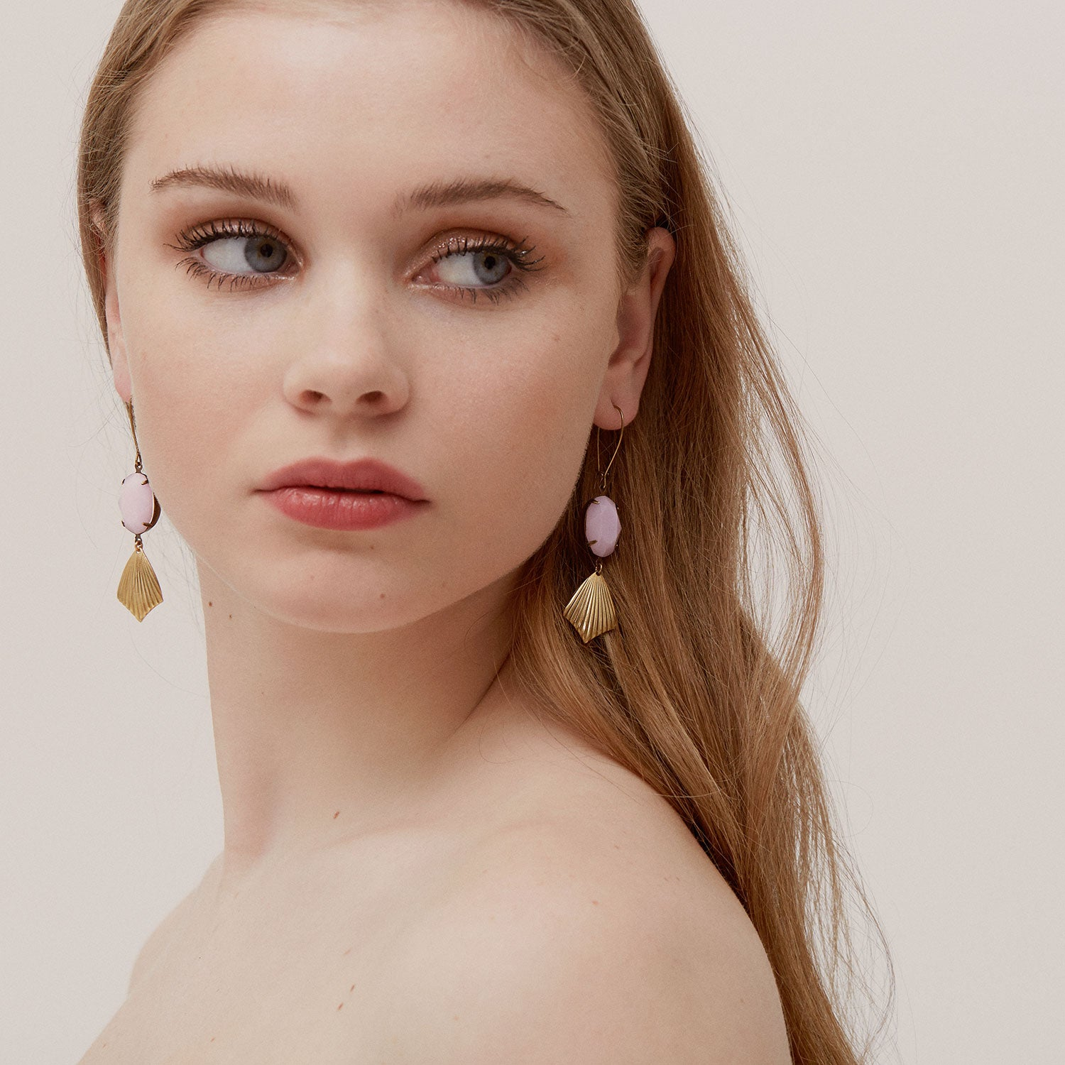 Nausica Earrings in Pink Alabaster (SD549)