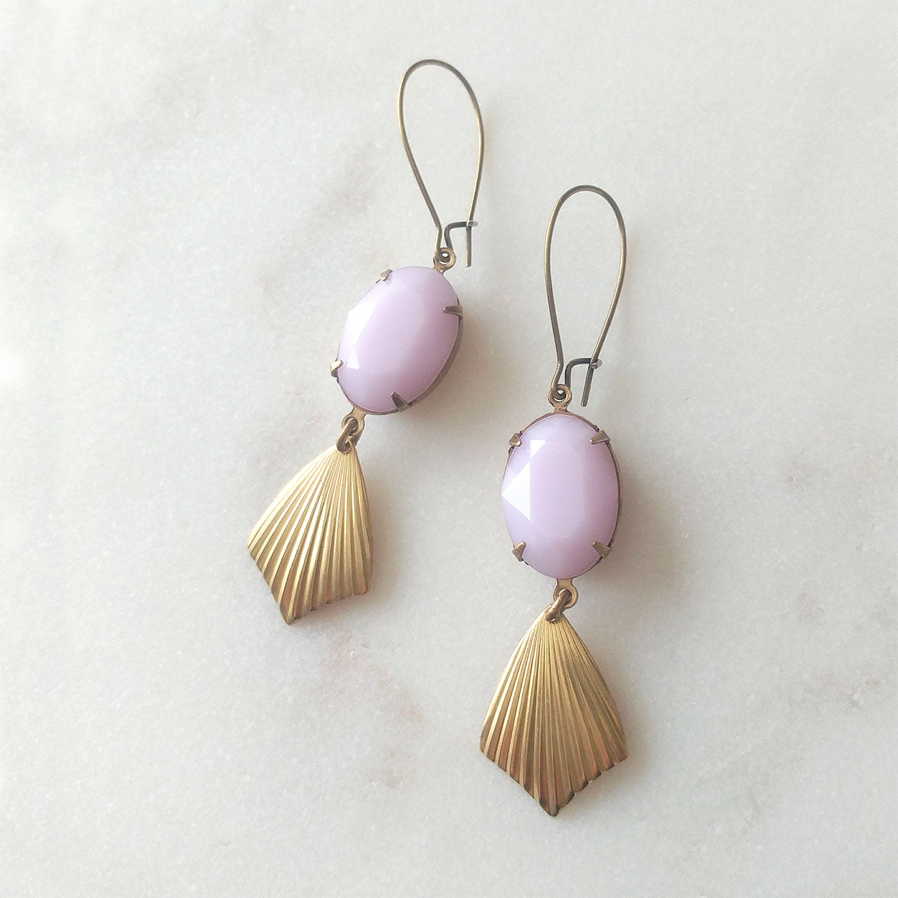 earrings rose alabaster brass drops