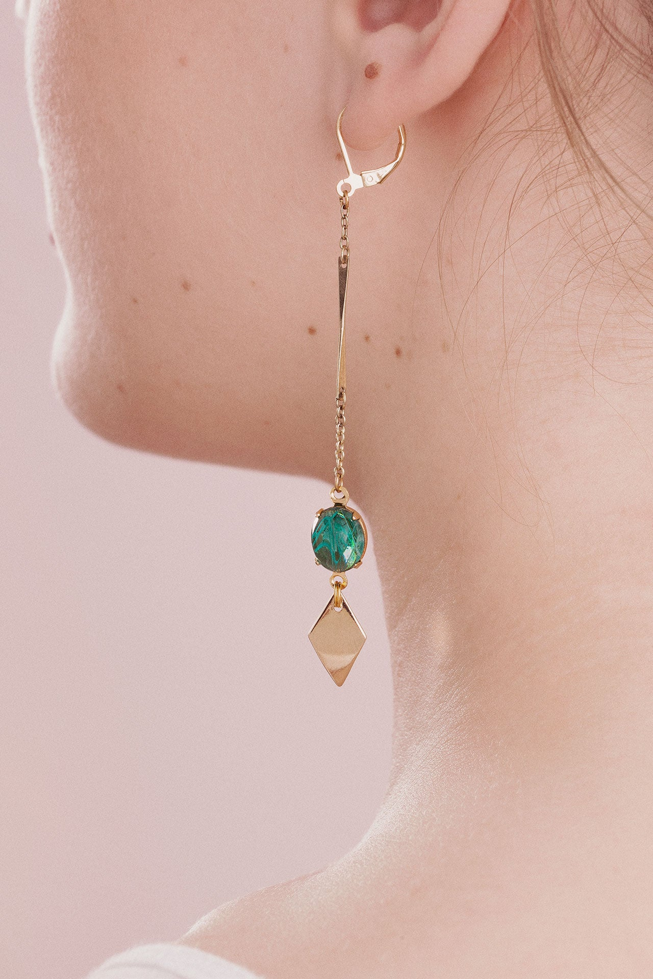Long green earrings with gold dangles