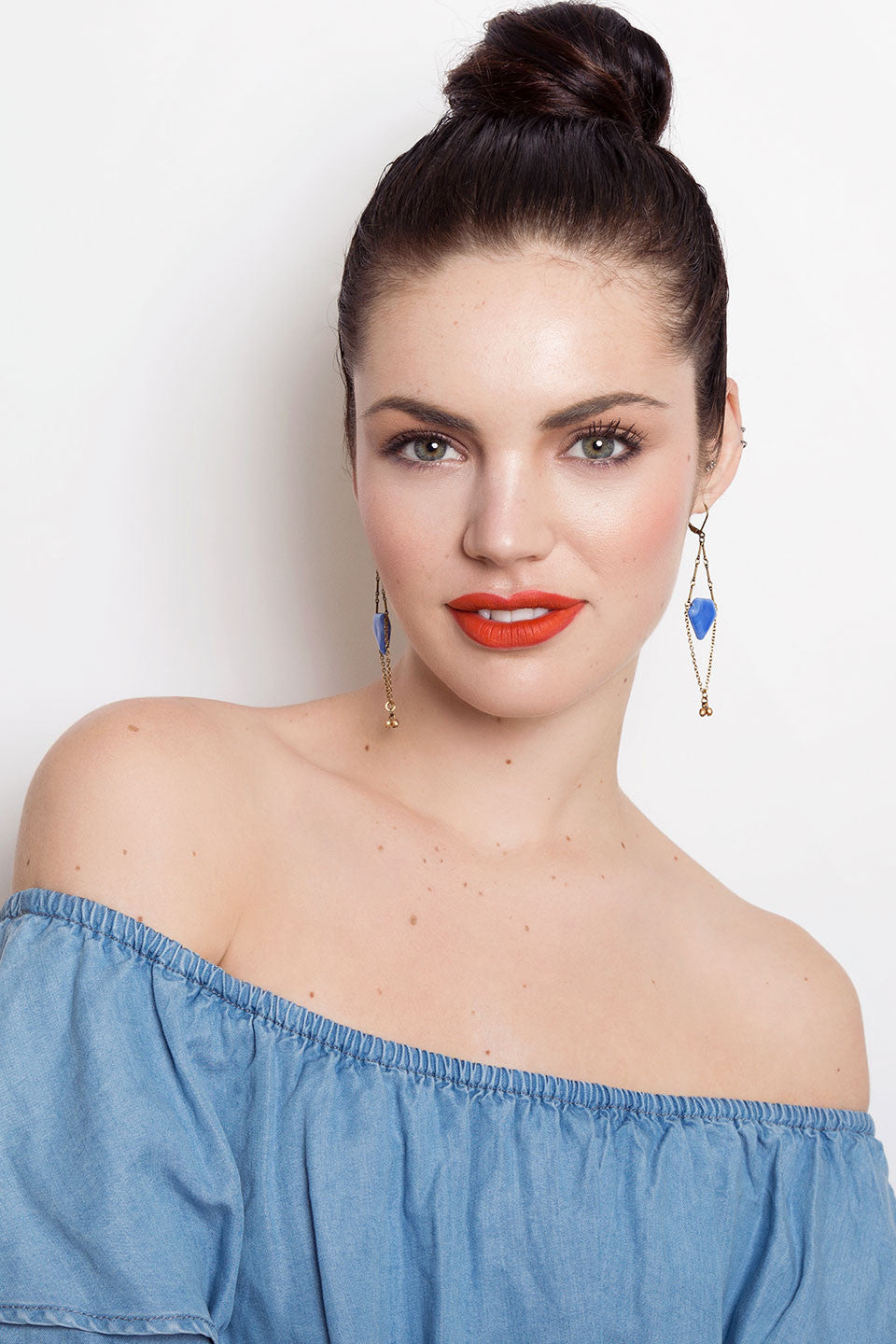 Debra Earrings in sky blue (SD437)