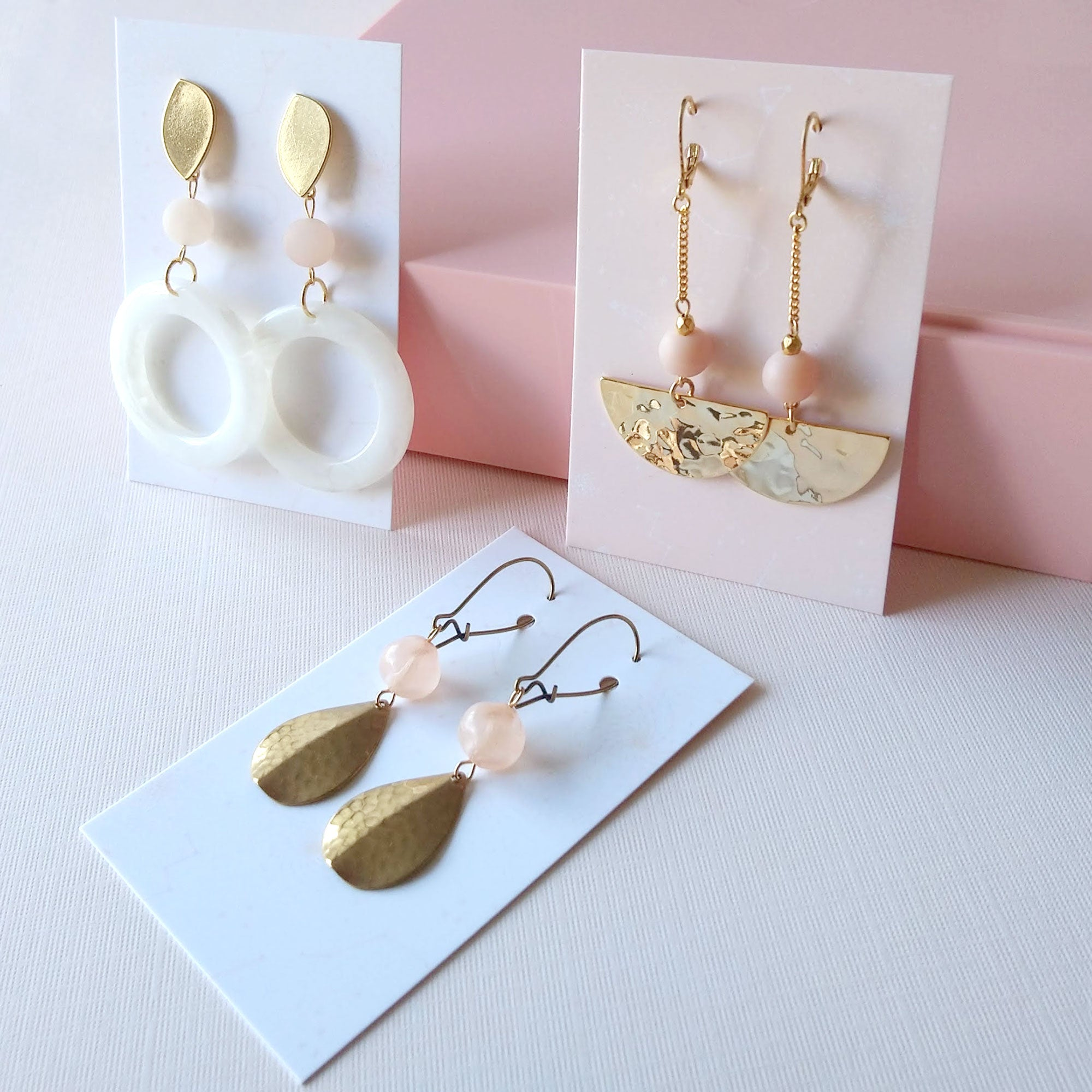 pink and gold earrings nude neutral earrings
