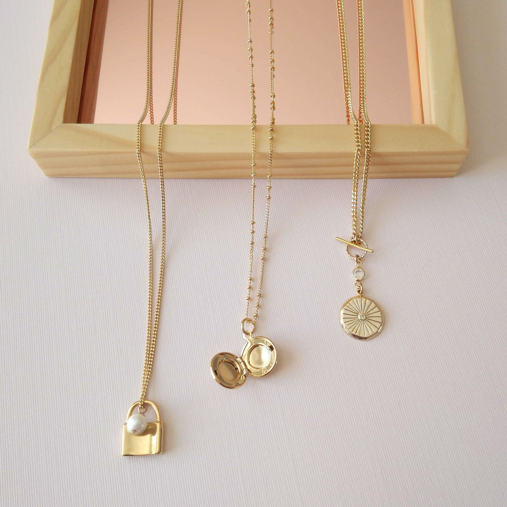 gold charm necklaces assortment locket