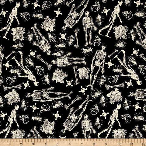 Skeletons in Black Made-to-Order Bag - Glow in the Dark - Ewe Sew An Sew