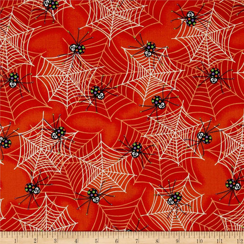 Spiders & Webs in Orange Made-to-Order Bag - Glow in the Dark - Ewe Sew An Sew