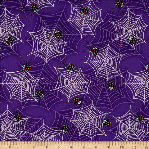 Spiders & Webs in Purple Made-to-Order Bag - Glow in the Dark - Ewe Sew An Sew