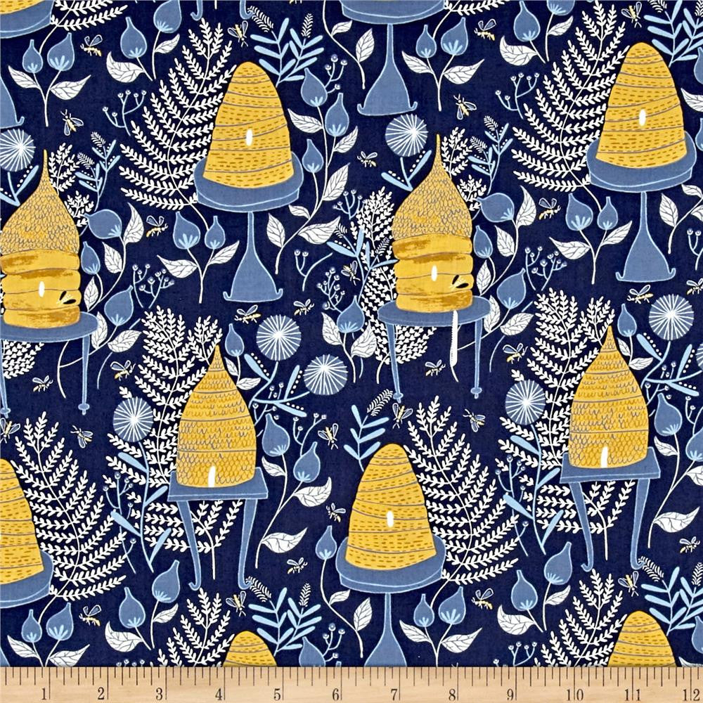Honey Bees in Navy Made-to-Order Bag - Ewe Sew An Sew