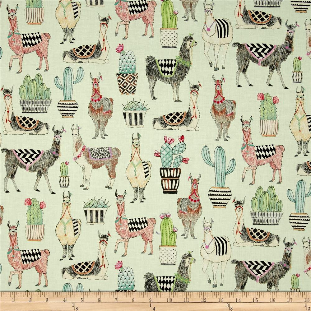 Lovely Llamas in Mint Made-to-Order Bag - Ewe Sew An Sew