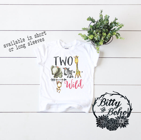 Two Wild Zoo Birthday Girl Shirt - Bitty & Boho