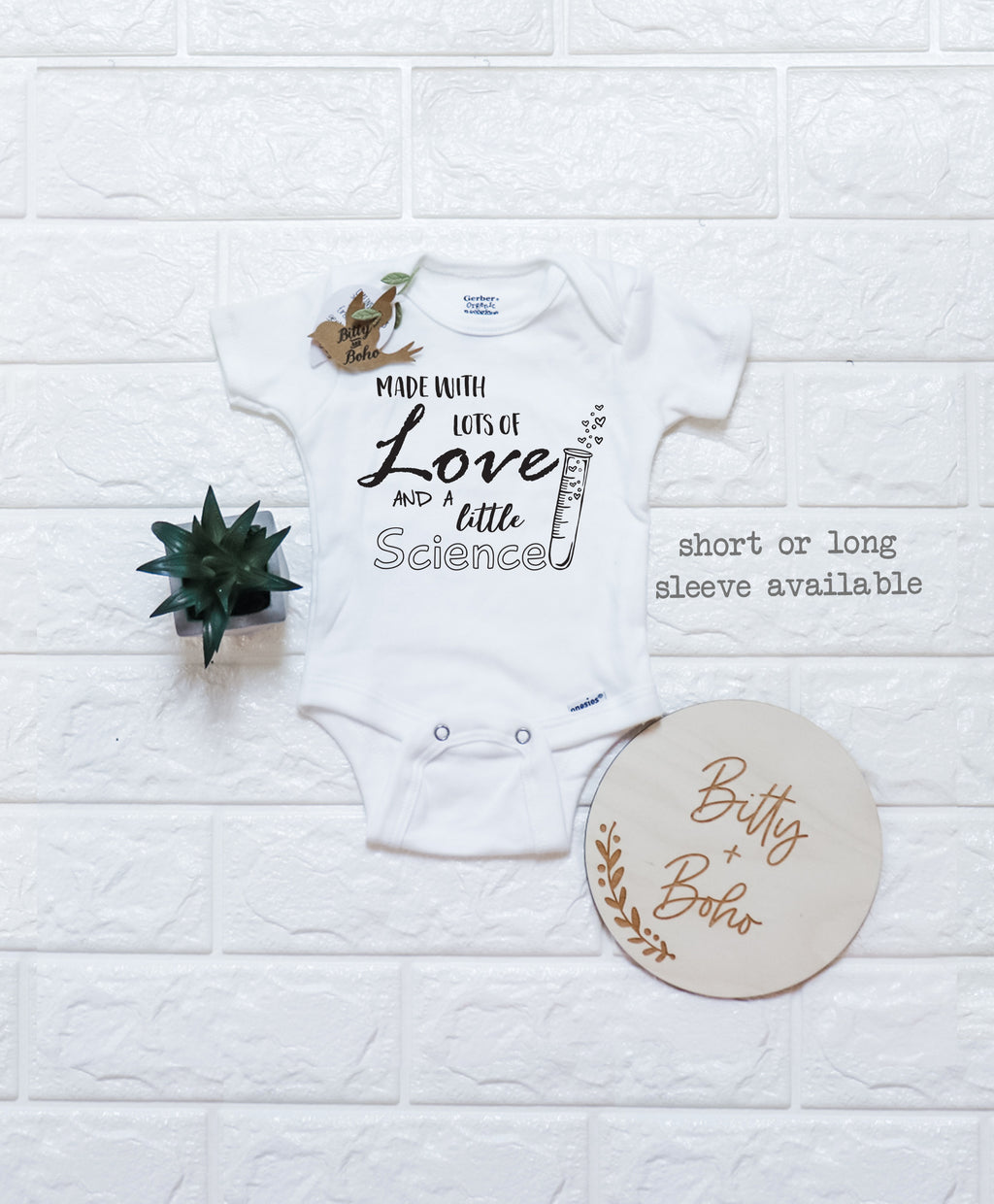 Grey Lots of Love and a Little Science Baby Vest Babygrow Bodysuit Baby Reveal Pregnancy Annoucment IVF 0-3 Months
