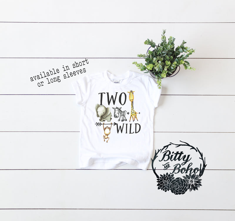 Two Wild - Zoo Birthday Boy Shirt - Bitty & Boho