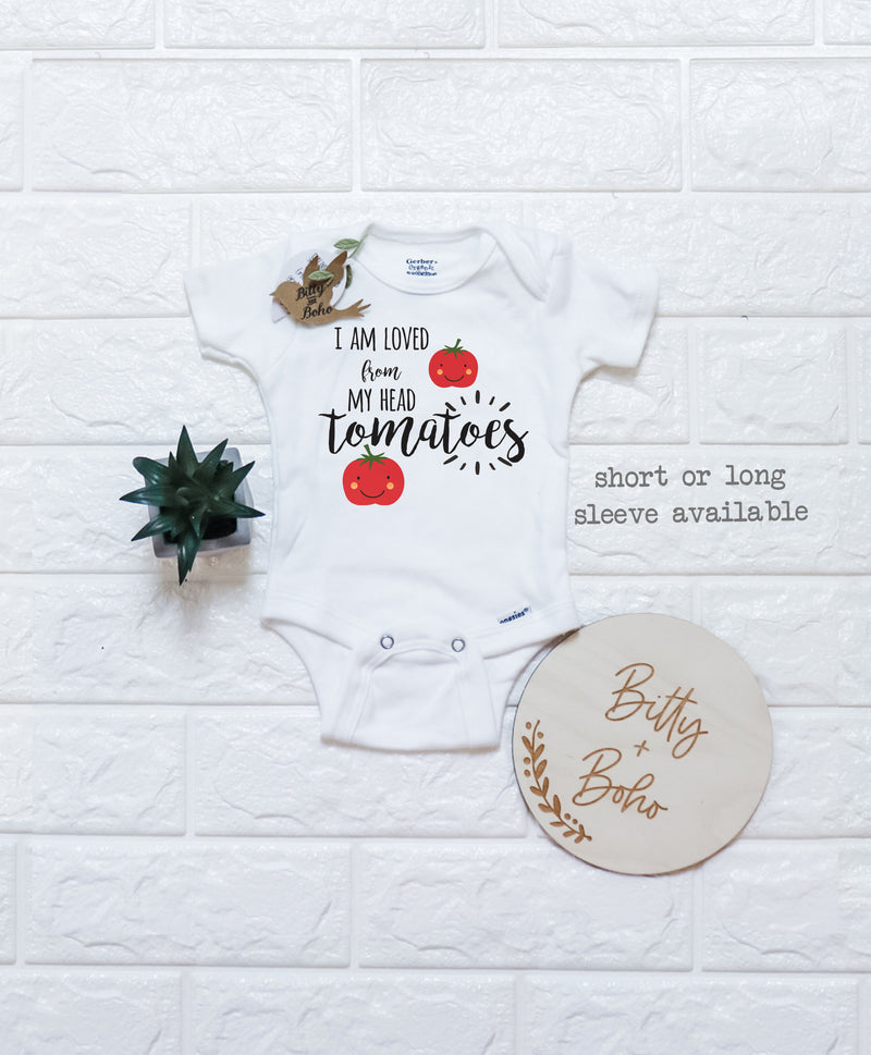 I Am Loved From My Head Tomatoes Onesie® - Bitty & Boho