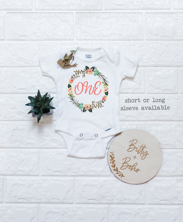 One Baby Bodysuit - First Birthday Onesie® - Bitty & Boho