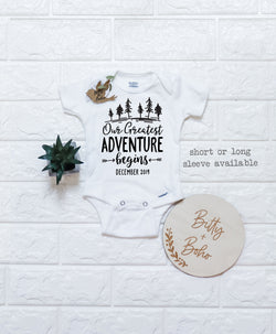 Our Greatest Adventure Begins Onesie® - Pregnancy Announcement - Bitty & Boho