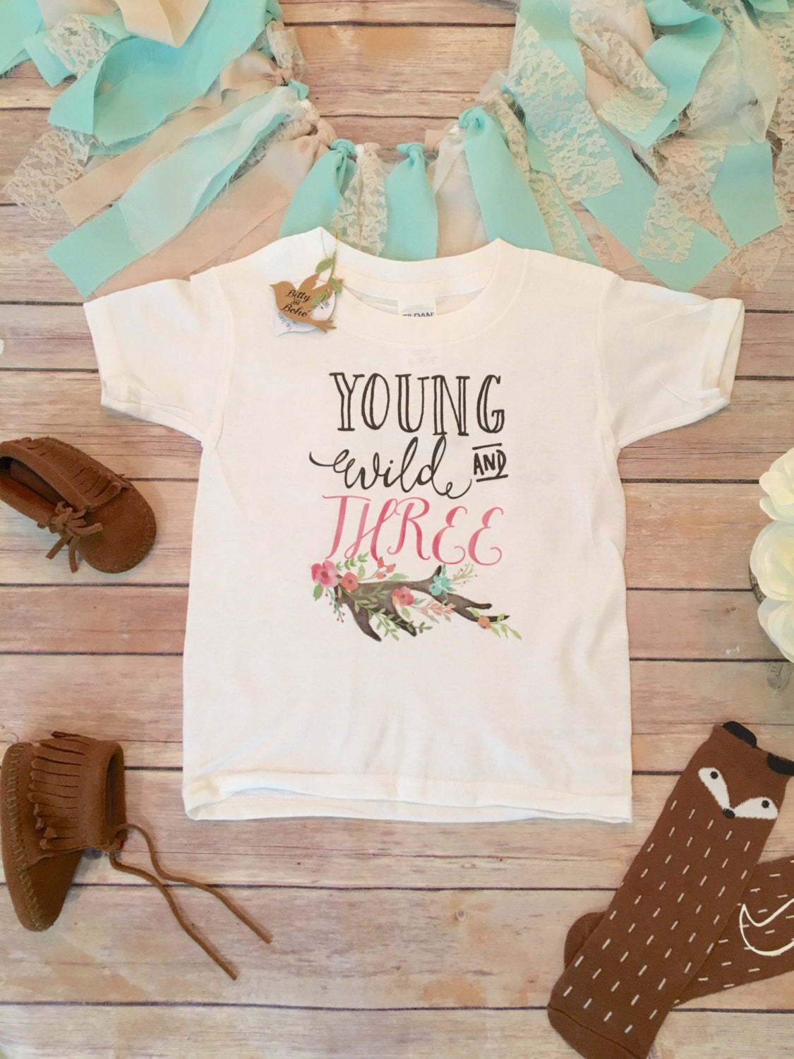 Third Birthday Shirt Girl 3rd Young Wild Three