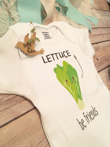 Friends Onesie®,  Hipster Baby, Baby Shower Gift, Funny Onesies, Boho Baby, Cute Onesies, Unisex Baby Clothes,Lettuce Be Friends,Kawaii Food