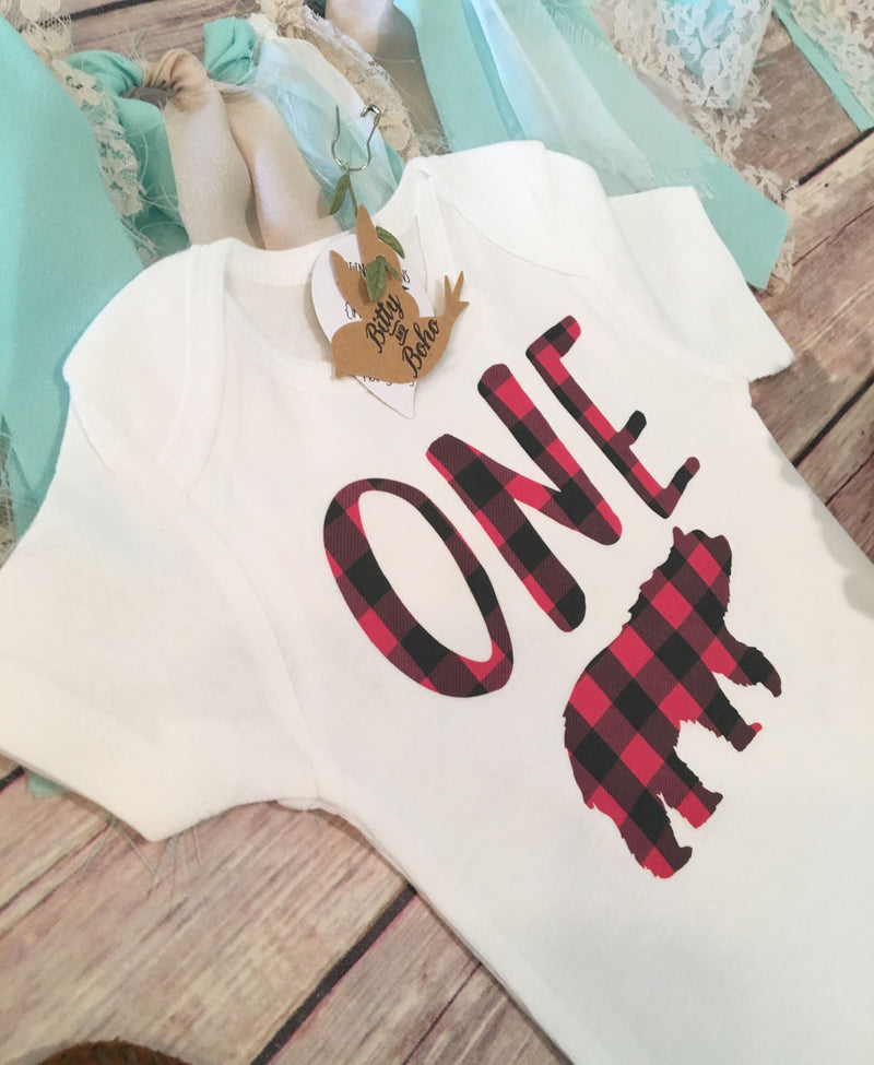 First Birthday Shirt - Buffalo Plaid Onesie® - Bitty & Boho