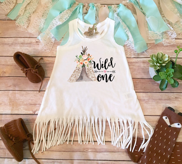 Wild One Teepee - First Birthday Girl Dress - Bitty & Boho