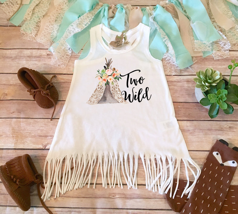 Two Wild Birthday Dress, Second Birthday Fringe Dress, Boho Birthday Dress, Hippie Baby Dress, Second Birthday Girl Dress, Teepee Birthday