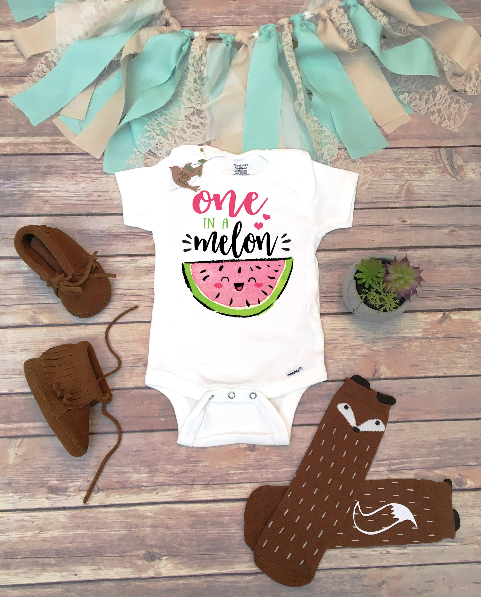 27b1a9ee8 ... One In A Melon Birthday, Watermelon Onesie®, Baby Girl Clothes, Cute  Baby ...