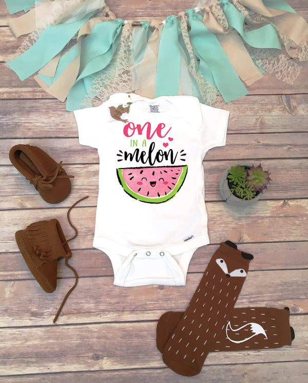 One In A Melon Birthday, Watermelon Onesie®, Baby Girl Clothes, Cute Baby Clothes, First Birthday Girl Outfit, One in a Melon Shirt, Food - Bitty & Boho