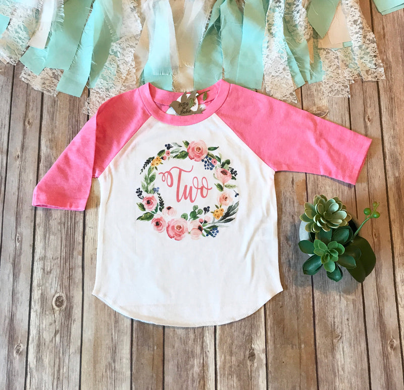 Second Birthday Shirt, Two Shirt, Two Wreath, Second Birthday Outfit Girl, Pink Shirt,2nd Birthday Outfit Girl,2 Floral Wreath,Two Years Old - Bitty & Boho