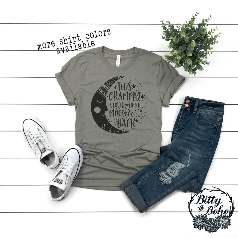 Cute Grandma Shirt, Best Grandma Ever, Loved to the Moon and Back Shirt, Gifts for Grandmas, Graphic Tees, Mom Pregnancy Announcement Shirt - Bitty & Boho