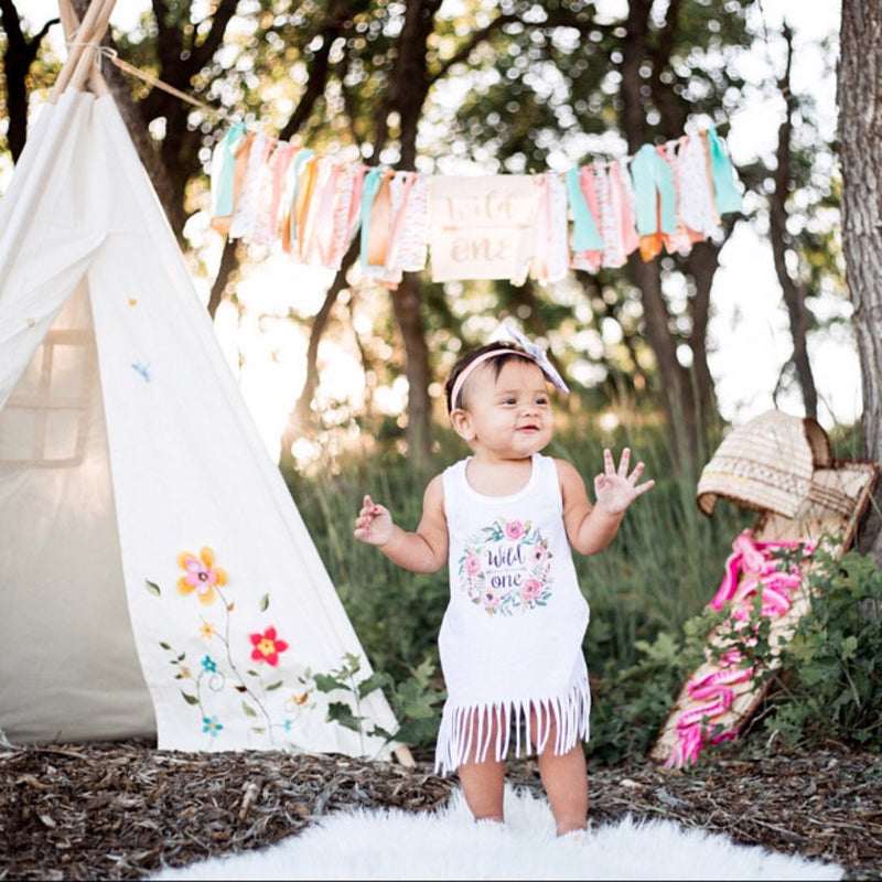 Wild One Wreath Birthday Fringe Dress - Bitty & Boho