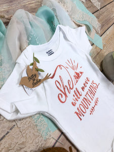 She Will Move Mountains Onesie®, Baby Girl Clothes, Baby Shower Gift,  Religious Baby Gift, Cute Baby Clothes, Christian Gift, Cute Onesies
