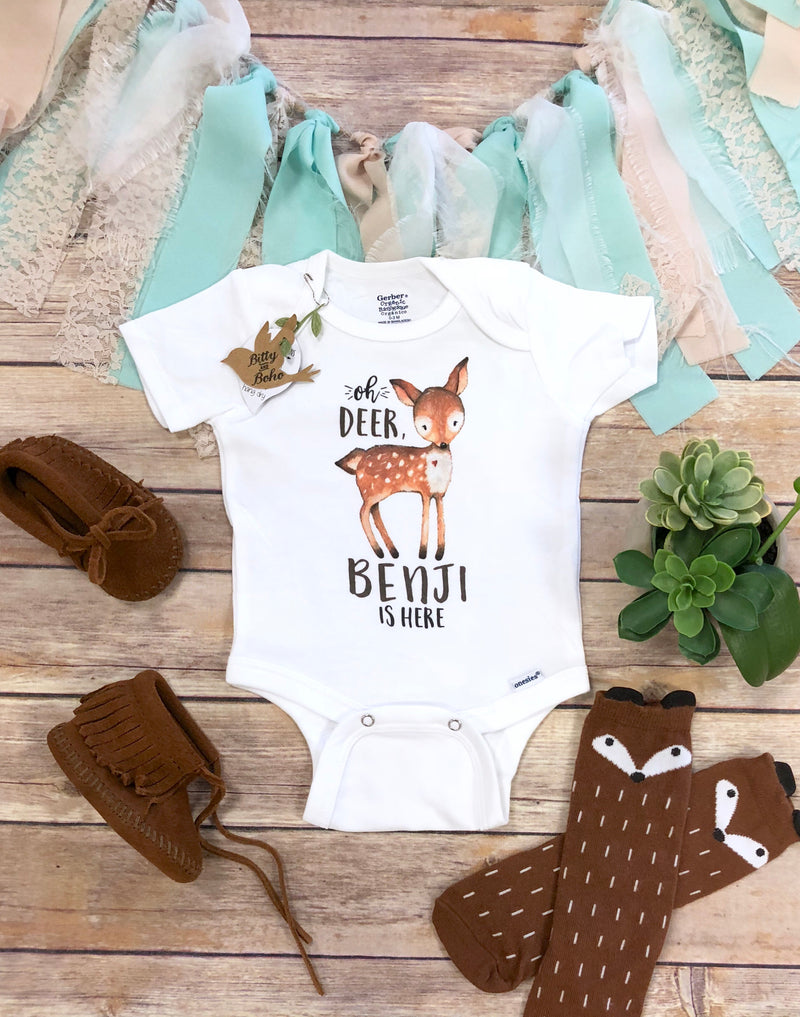 Oh Deer I'm Here Onesie® - Newborn Boy Coming Home Outfit - Bitty & Boho