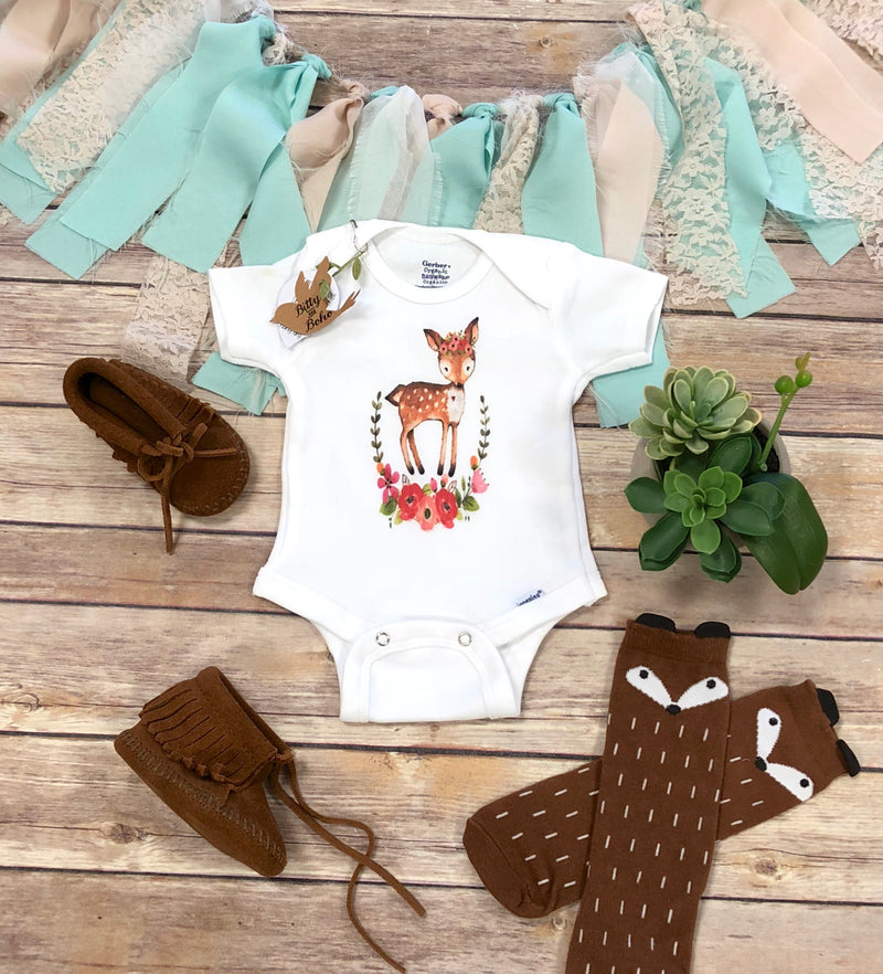 Floral Wreath Deer Onesie® - Bitty & Boho