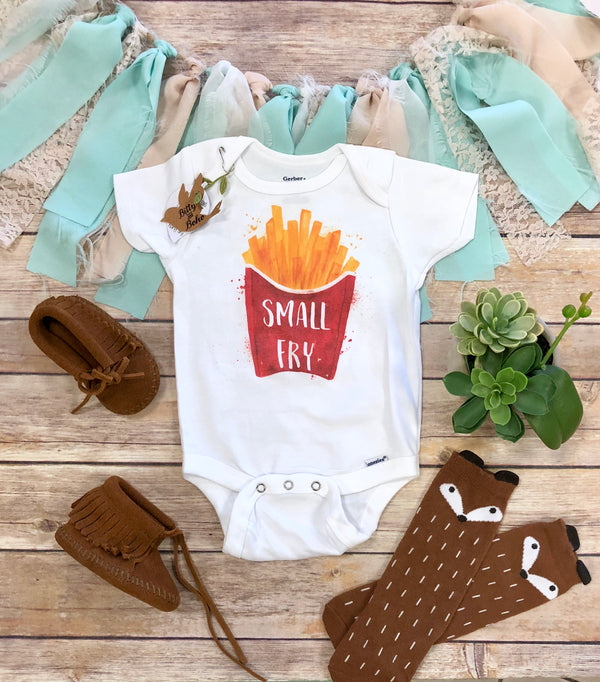 Small Fry Baby Onesie®, Hipster Baby, Funny Baby Onesies, Baby Shower Gift, French Fries Shirt, Unisex Baby Clothes, French Fries Onesie - Bitty & Boho