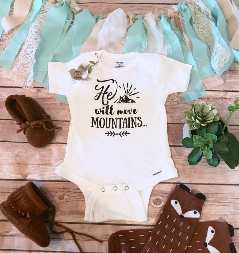 He Will Move Mountains Onesie®, Baby Boy Clothes, Baby Shower Gift,  Religious Baby Gift, Cute Baby Clothes, Christian Gift, Cute Onesies