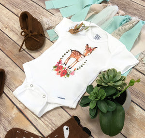 Floral Wreath Deer Onesie®
